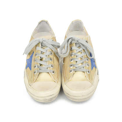Authentic Second Hand Golden Goose Deluxe Brand V-Star 2 Distressed Leather-Paneled Metallic Canvas Sneakers (PSS-200-00930)