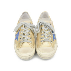 V-Star 2 Distressed Leather-Paneled Metallic Canvas Sneakers