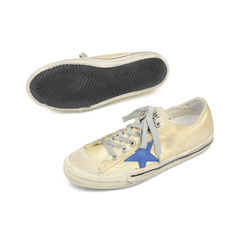 Golden goose deluxe brand v star 2 distressed leather paneled metallic canvas sneakers 2?1516001444