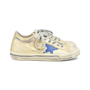 Authentic Second Hand Golden Goose Deluxe Brand V-Star 2 Distressed Leather-Paneled Metallic Canvas Sneakers (PSS-200-00930) - Thumbnail 1