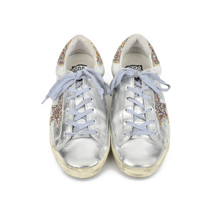 Authentic Second Hand Golden Goose Deluxe Brand Super Star Glitter Metallic Leather Sneakers (PSS-200-00933)