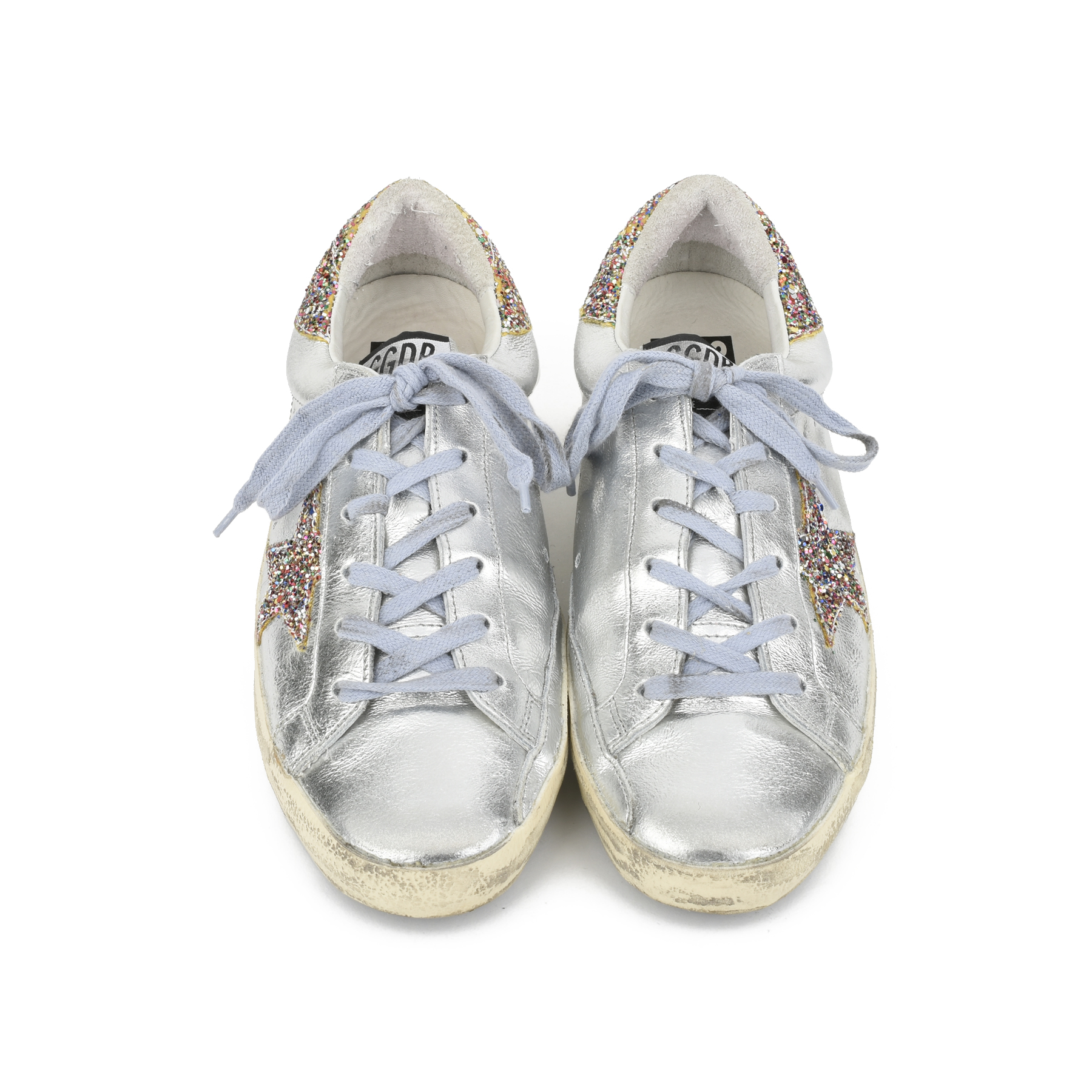 c59259dac9720 Authentic Second Hand Golden Goose Deluxe Brand Super Star Glitter Metallic  Leather Sneakers (PSS-200-00933)