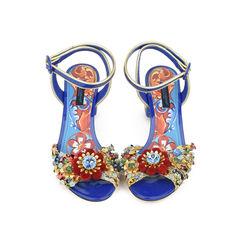 Pom-Pom Painted Block-Heel Sandals