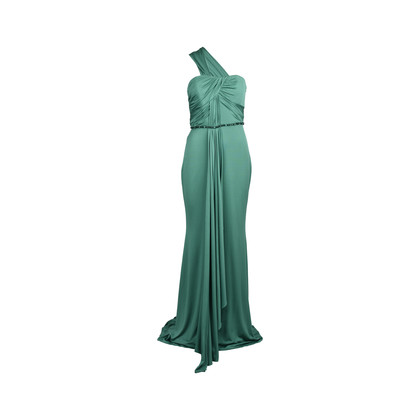 Authentic Second Hand Badgley Mischka Draped Shoulder Gown (PSS-415-00019)