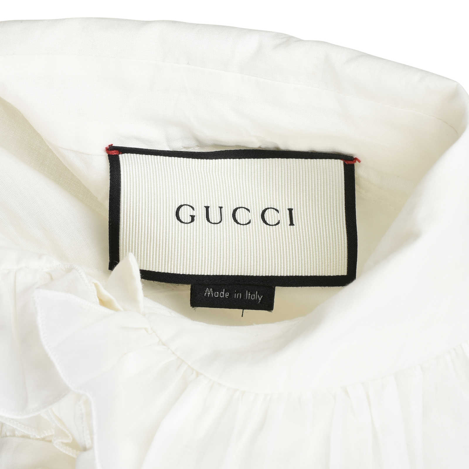 ea1d8d624249f0 ... Authentic Second Hand Gucci Ruffled Detail Neck Tie Blouse  (PSS-051-00308)