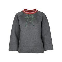 Embellished Neoprene Sweater