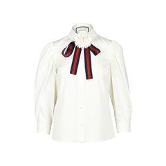 Cotton Poplin Tie-Neck Blouse