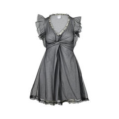 V-Neck Cotton Mesh Dress