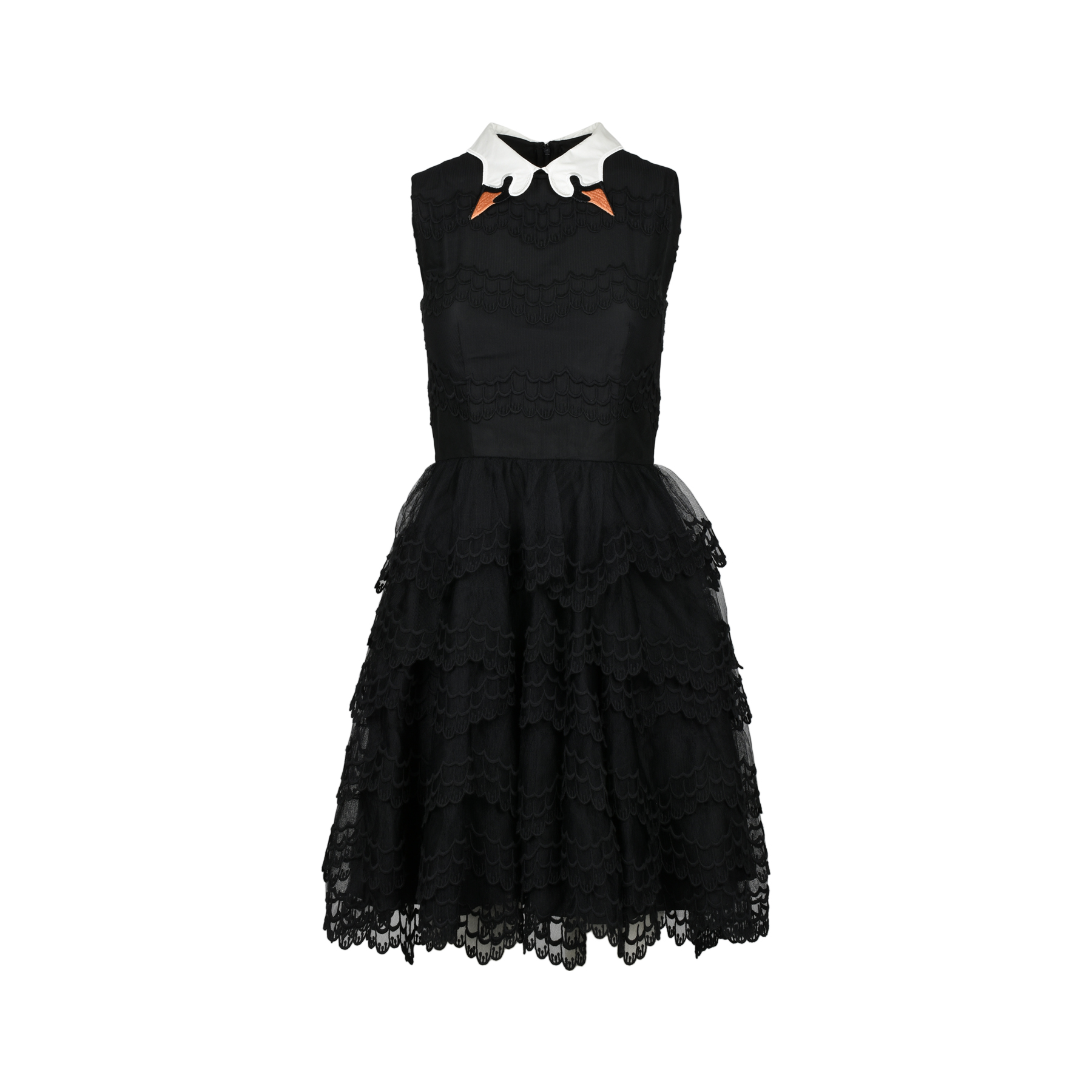 6a7a668f7f5 Authentic Second Hand RED Valentino Black Swan Collar Scallop-lace Dress  (PSS-047-00177)