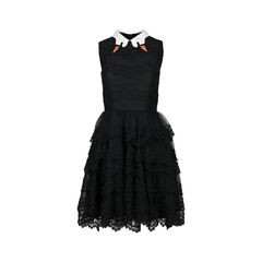 Black Swan Collar Scallop-lace Dress