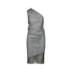 One-shoulder Draped Net Dress