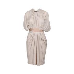 Draped Fine-Knit Jersey Dress