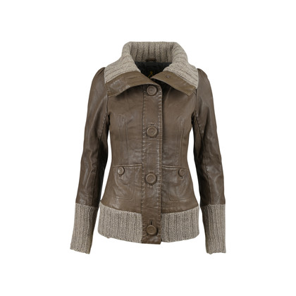 Authentic Second Hand Mackage Ribbed Trim Leather Jacket (PSS-080-00210)