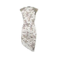 Beaded-Shoulder Silk Dress