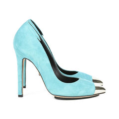 Tania spinelli blue and silver toned metal cap toe suede pumps 4?1517201504