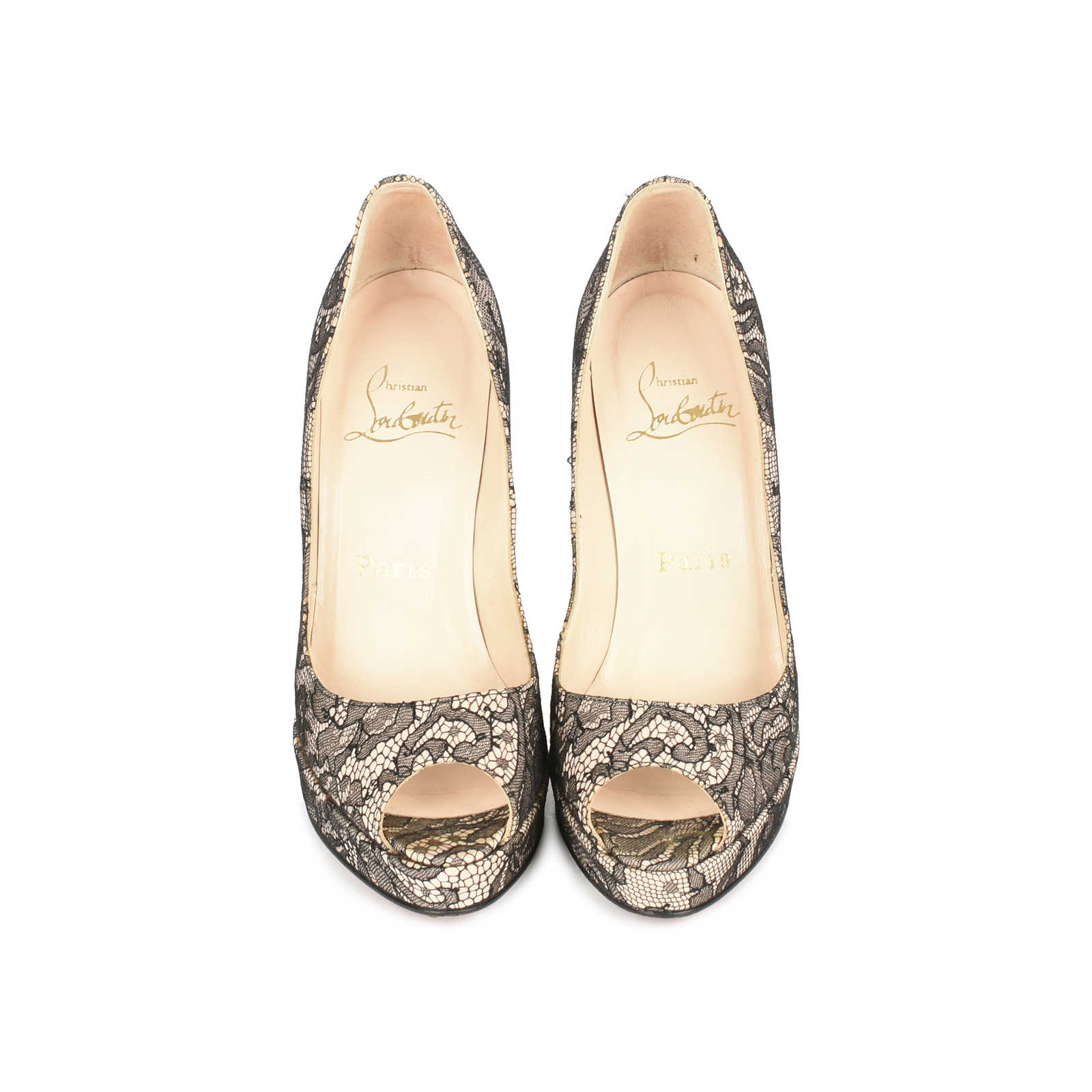 82f17a716a8 Authentic Second Hand Christian Louboutin Banana Lace Pumps (PSS-080 ...