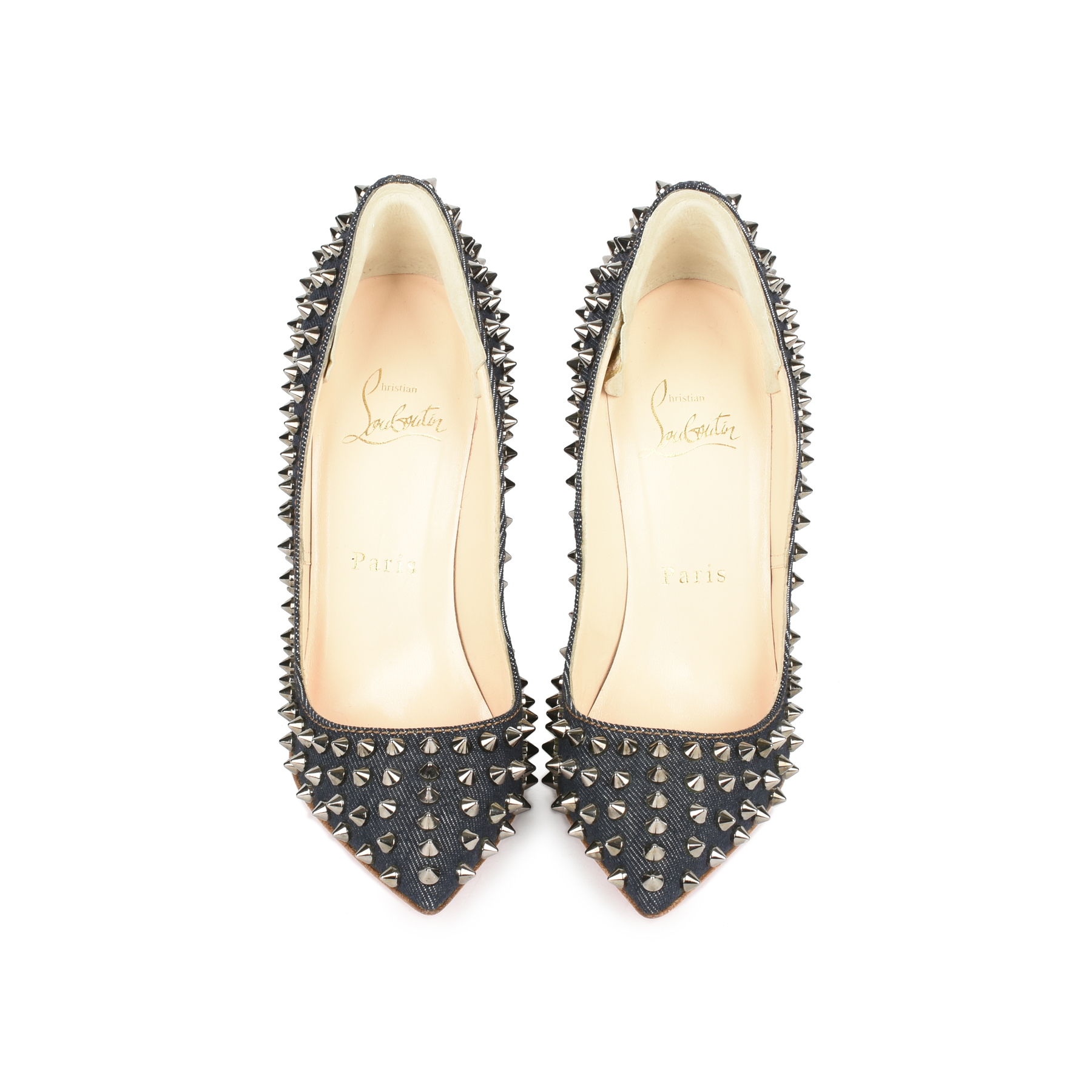 new style 89975 5e81f Pigalle 120 Studded Denim Pumps