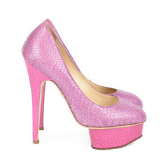 Charlotte olympia pink snakeskin pumps 4?1517202835