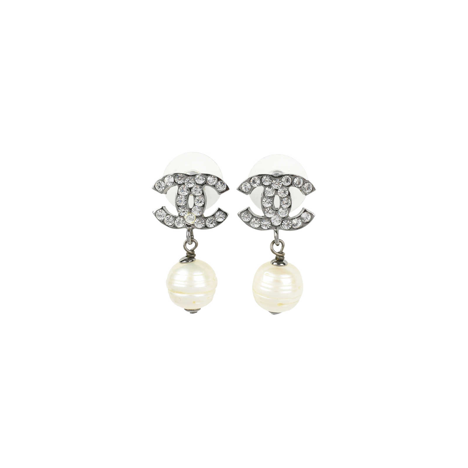 Chanel Cc Pearl Drop Earrings Metallic Thumbnail 0