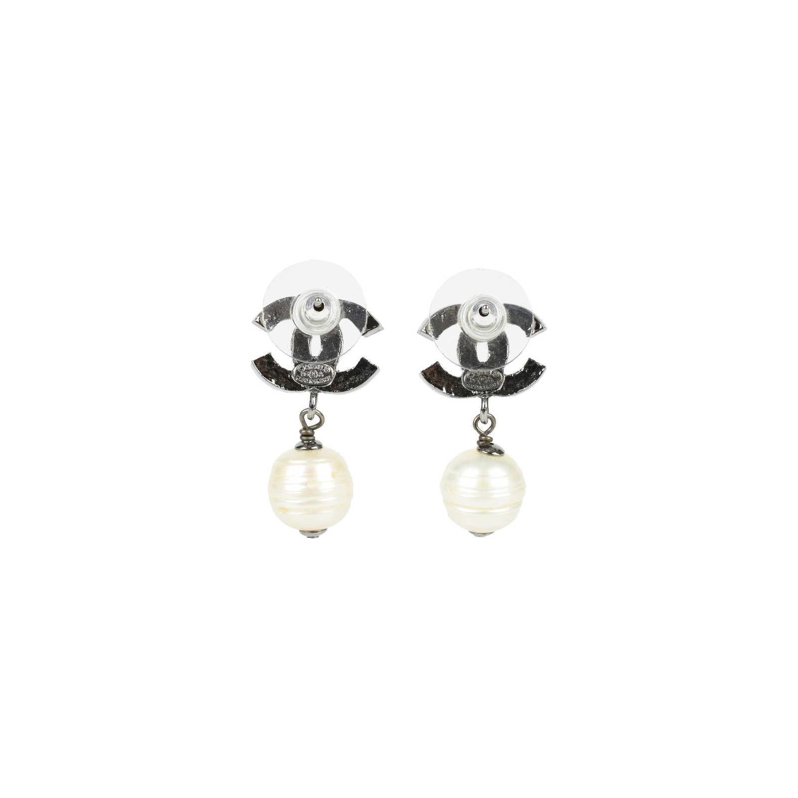 Chanel Cc Pearl Drop Earrings Metallic Thumbnail 2