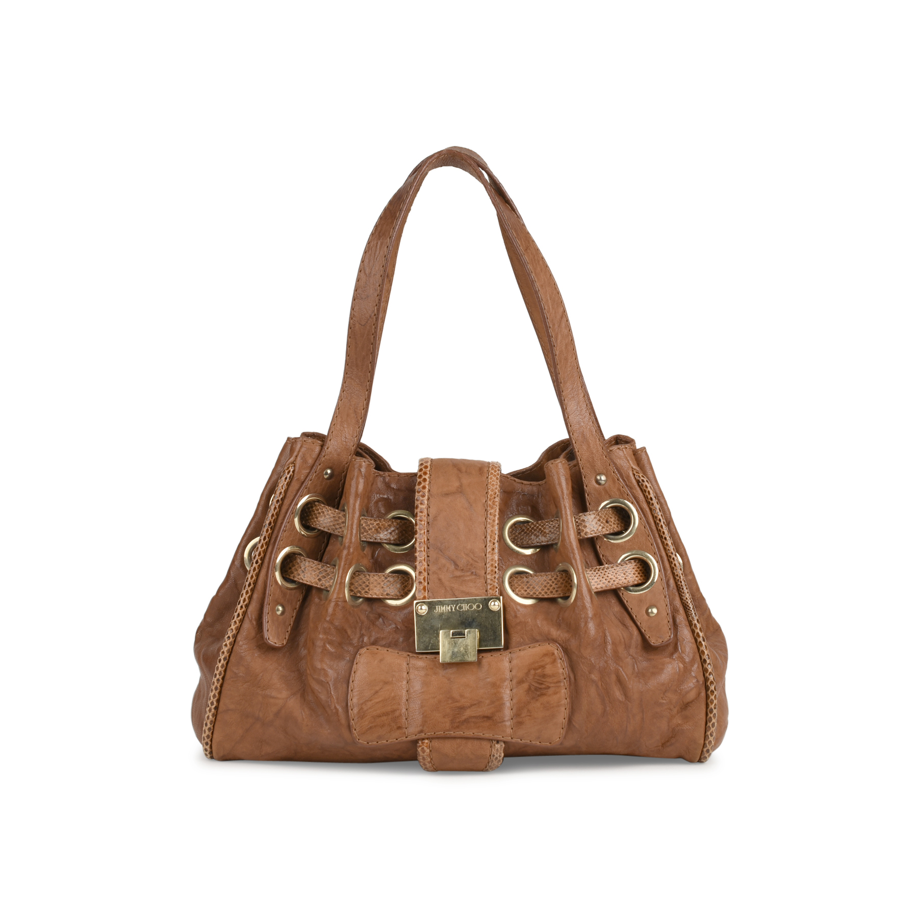 1a6c55d4a40 Authentic Second Hand Jimmy Choo Snakeskin-Trimmed Ramona Shoulder Bag  (PSS-415-00042) - THE FIFTH COLLECTION