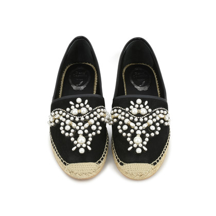 Authentic Second Hand René Caovilla Pearl Embroidered Suede Espadrilles (PSS-240-00201)