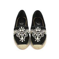 Pearl Embroidered Suede Espadrilles