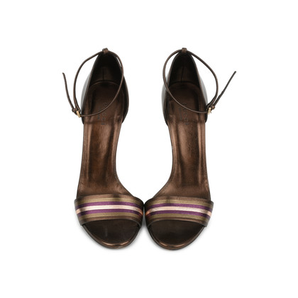 Authentic Second Hand Gucci Striped Bronze Sandals (PSS-443-00002)