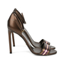 Authentic Second Hand Gucci Striped Bronze Sandals (PSS-443-00002) - Thumbnail 3