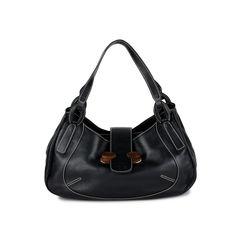 Wooden Flap Closure Shoulder Bag