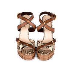 Snakeskin Criss-Cross Sandals