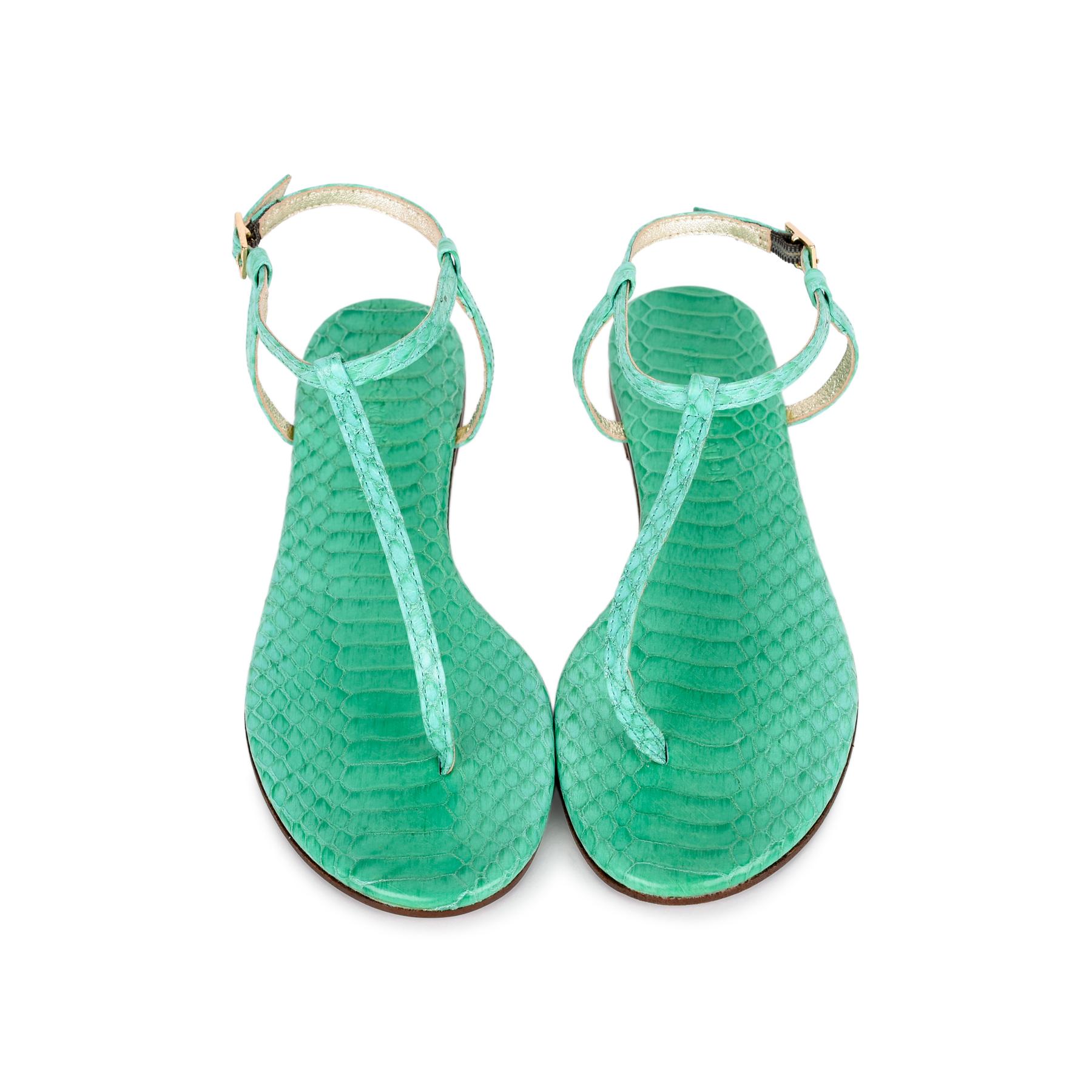 T-Strap Python Sandals
