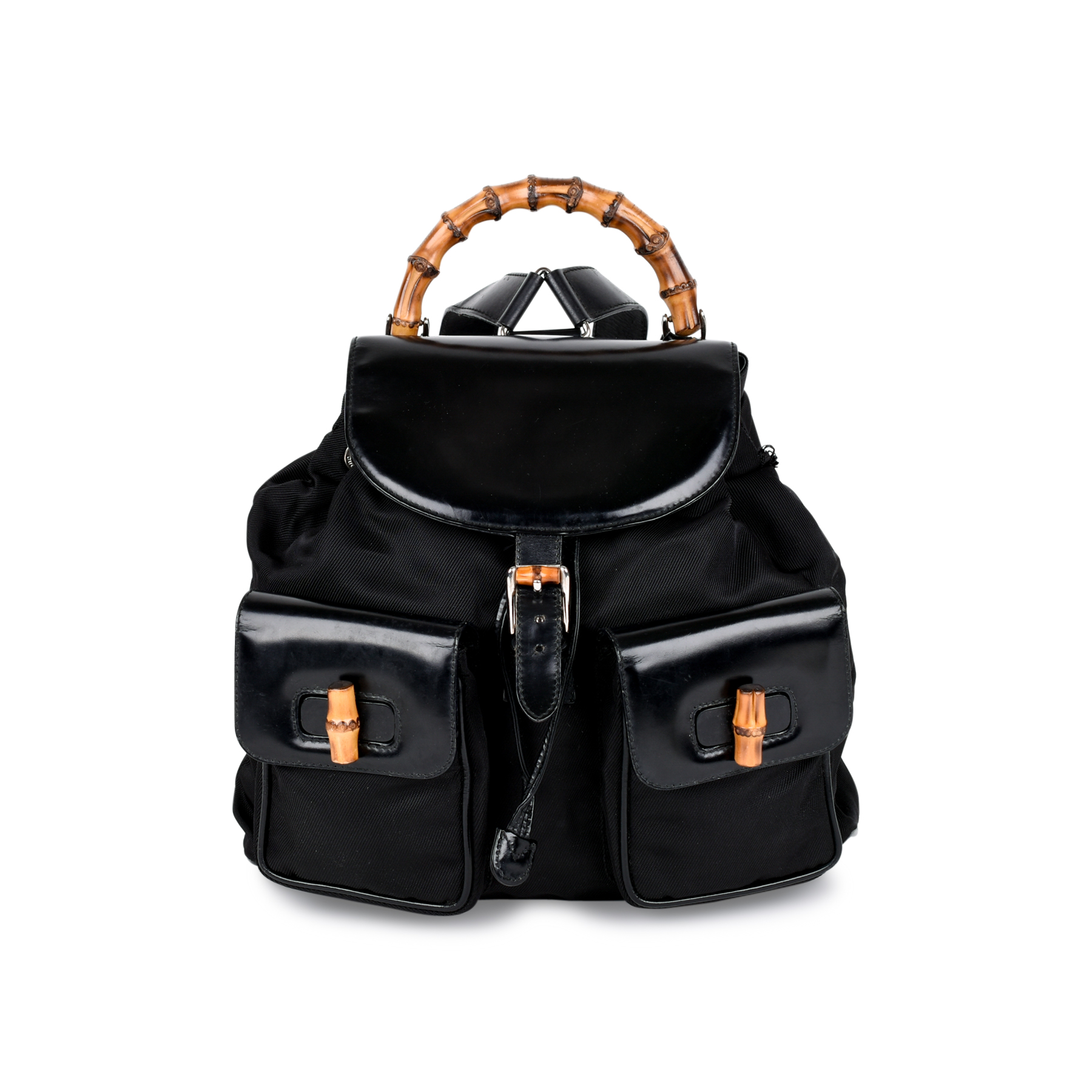 47615bce66a0 Authentic Vintage Gucci Bamboo Backpack (PSS-214-00023) | THE FIFTH  COLLECTION