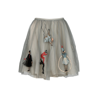 Authentic Second Hand RED Valentino Embroidered Tulle Skirt (PSS-387-00043)
