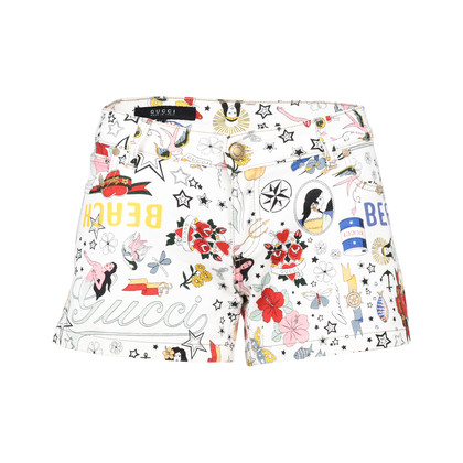Authentic Pre Owned Gucci Printed Denim Shorts (PSS-228-00037)