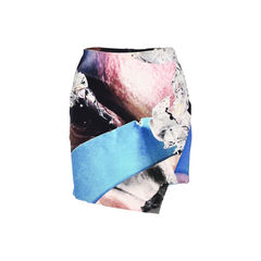 Asymmetric Printed Silk-Blend Mini Skirt