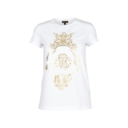 Authentic Second Hand Roberto Cavalli Gold Logo T-Shirt (PSS-200-01191)