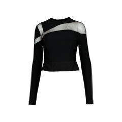 Mesh Paneled Stretch-Crepe Top