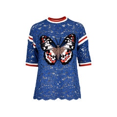 Butterfly-Applique Lace Top