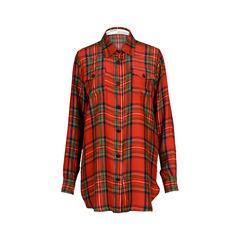 'WOMAN' Oversized Silk Plaid Shirt