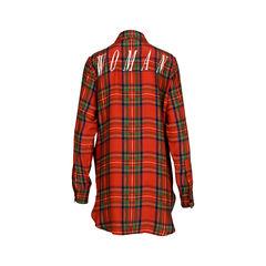 Off white oversized silk plaid shirt 2?1520922806