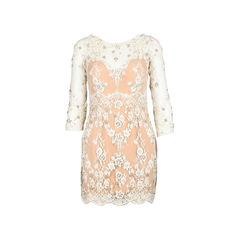 Natural Beaded Lace Cocktail Dress