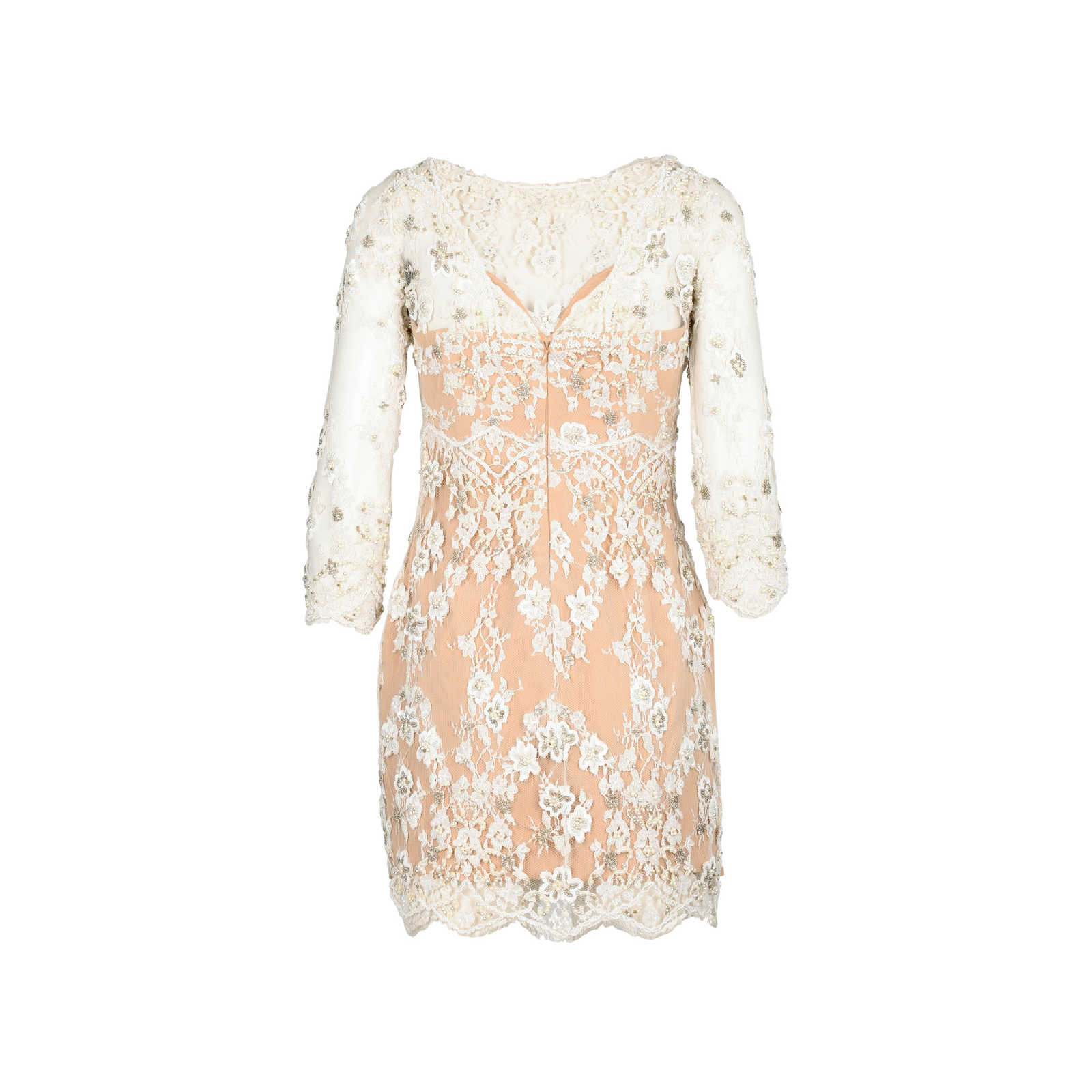 Second Hand Zuhair Murad Natural Beaded Lace Cocktail Dress | THE ...