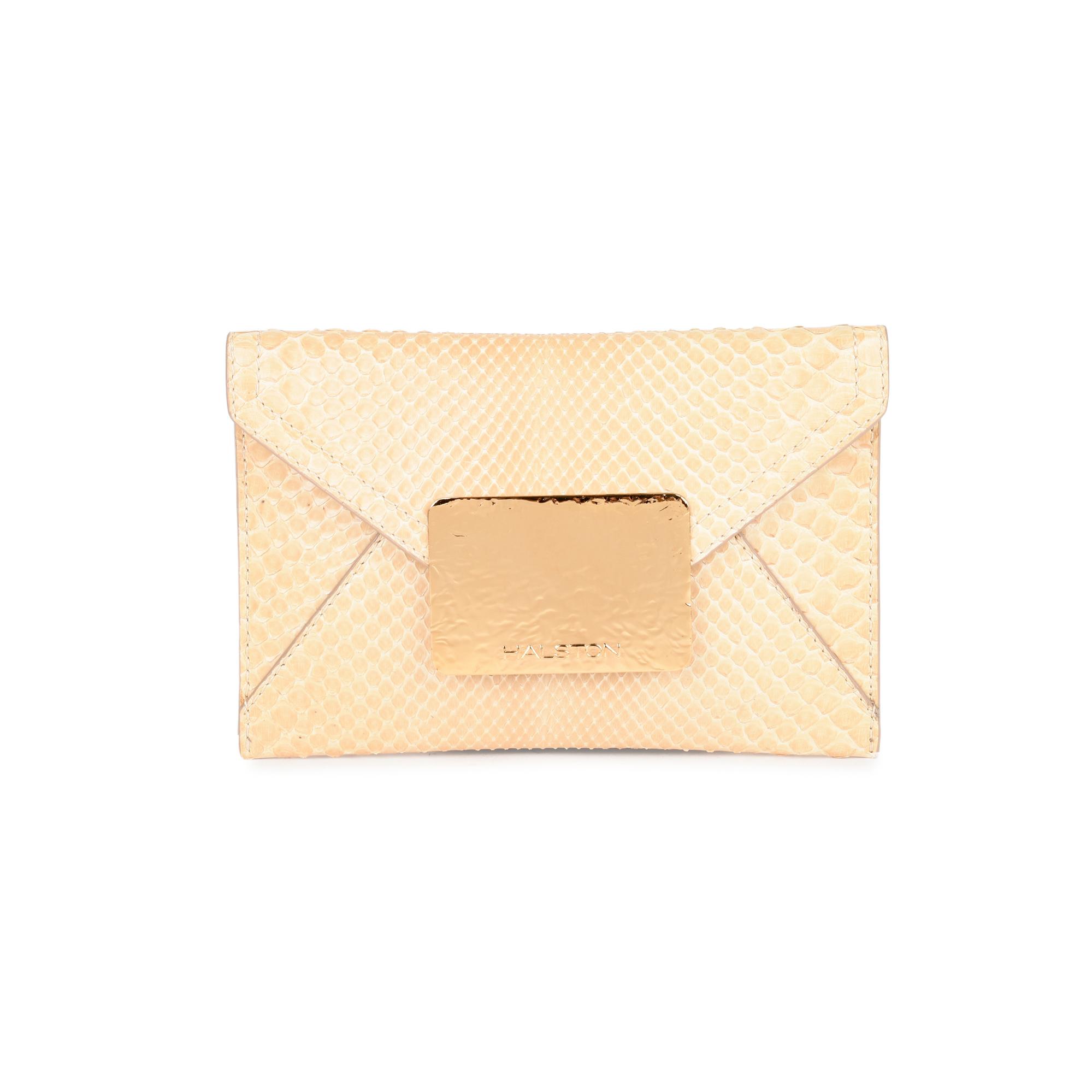 67374adac0 Authentic Second Hand Halston Snakeskin Envelope Clutch (PSS-414-00004)