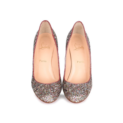 Authentic Second Hand Christian Louboutin Glitter Ron Ron 85 Pumps (PSS-459-00009)