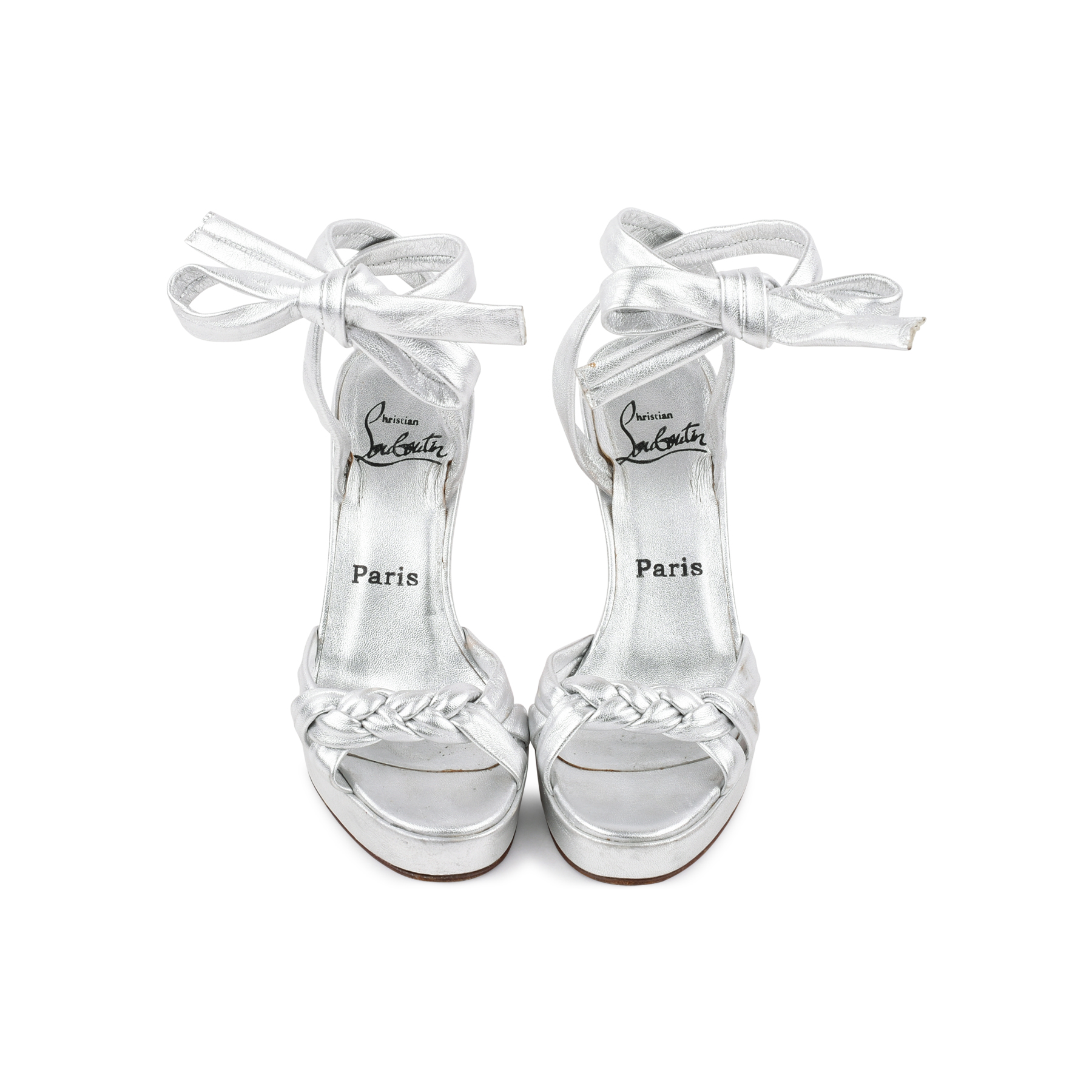 b089ed2e560ef7 Authentic Second Hand Christian Louboutin Silver Braided Tie Sandals  (PSS-080-00245)