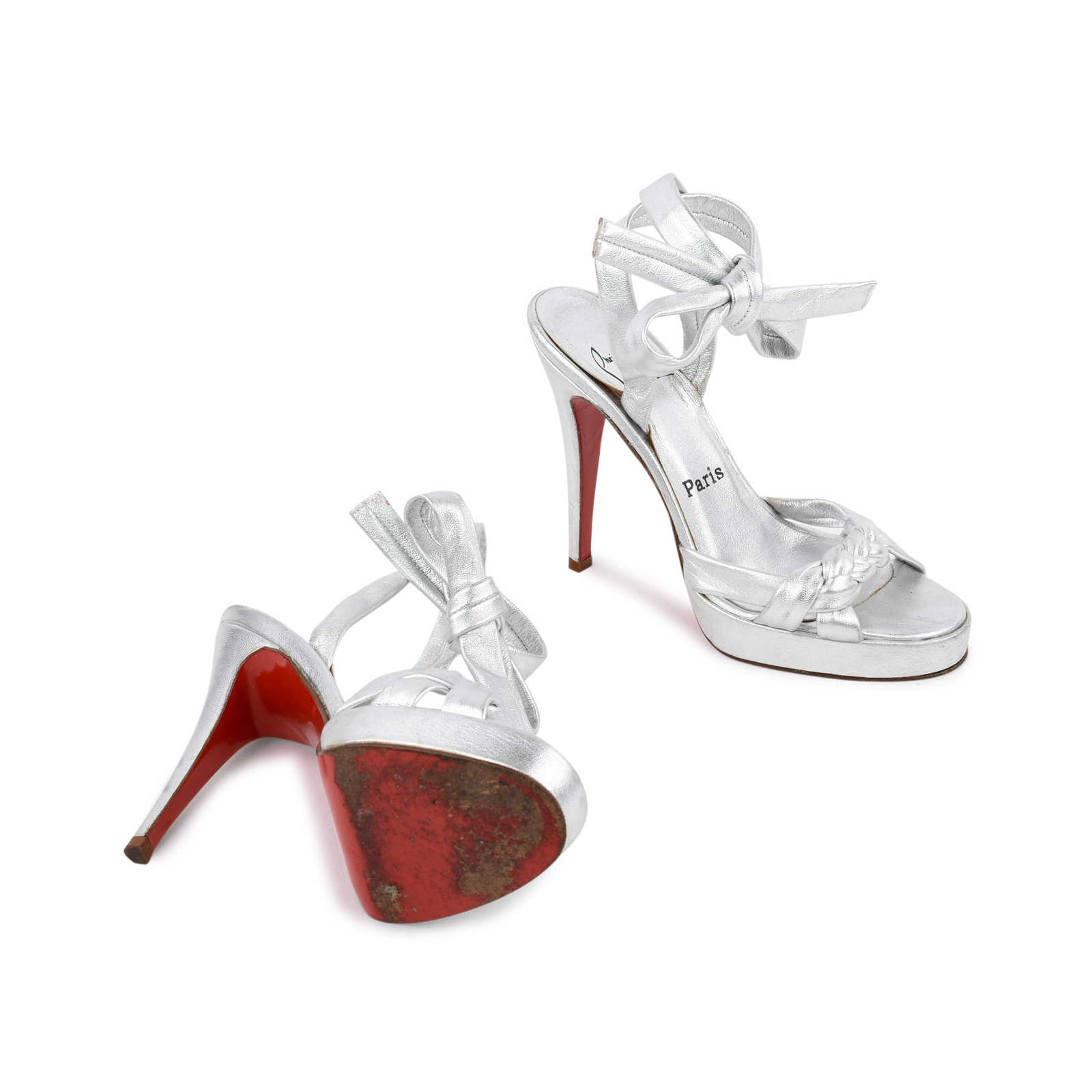 2bdaa6519d9bf8 ... Authentic Second Hand Christian Louboutin Silver Braided Tie Sandals  (PSS-080-00245) ...