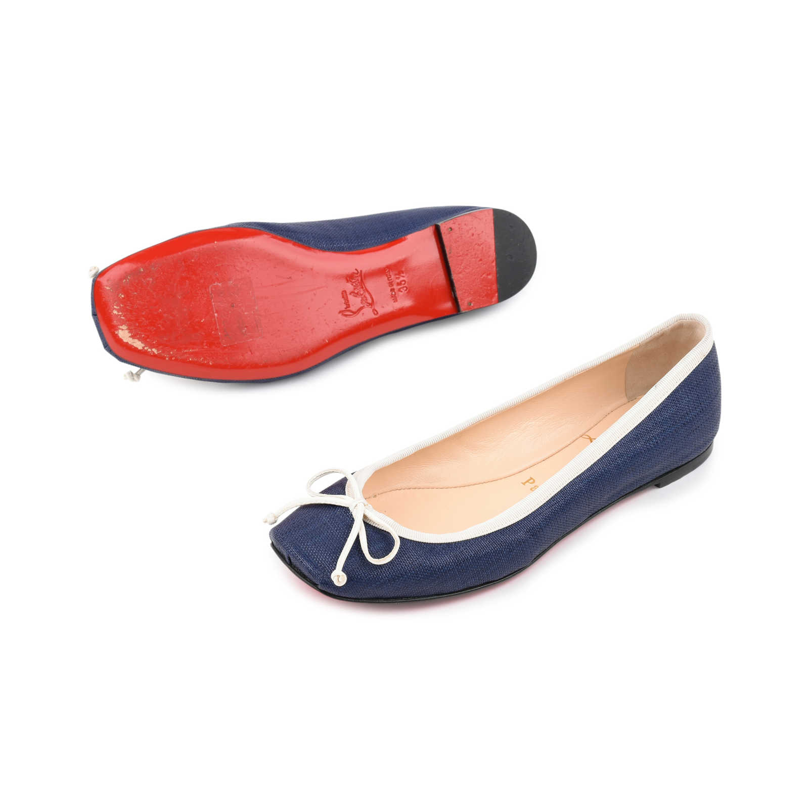 58acee1e862 ... Authentic Second Hand Christian Louboutin Canvas Rosella Flats  (PSS-080-00253) ...