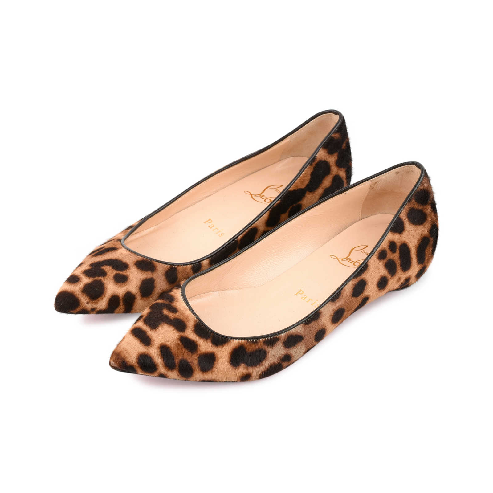 9547bc49f15f ... Authentic Second Hand Christian Louboutin Leopard Pigalle Flats (PSS-080-00258)  ...