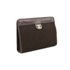 Chanel quilted canvas clutch 2?1521780162